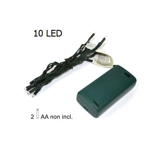 10 Led bianco verde a batteria