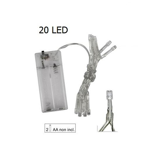 20 Led bianco freddo filo trasparente a batteria