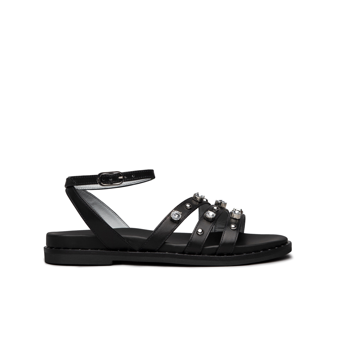 Sandalo nero con borchie NeroGiardini