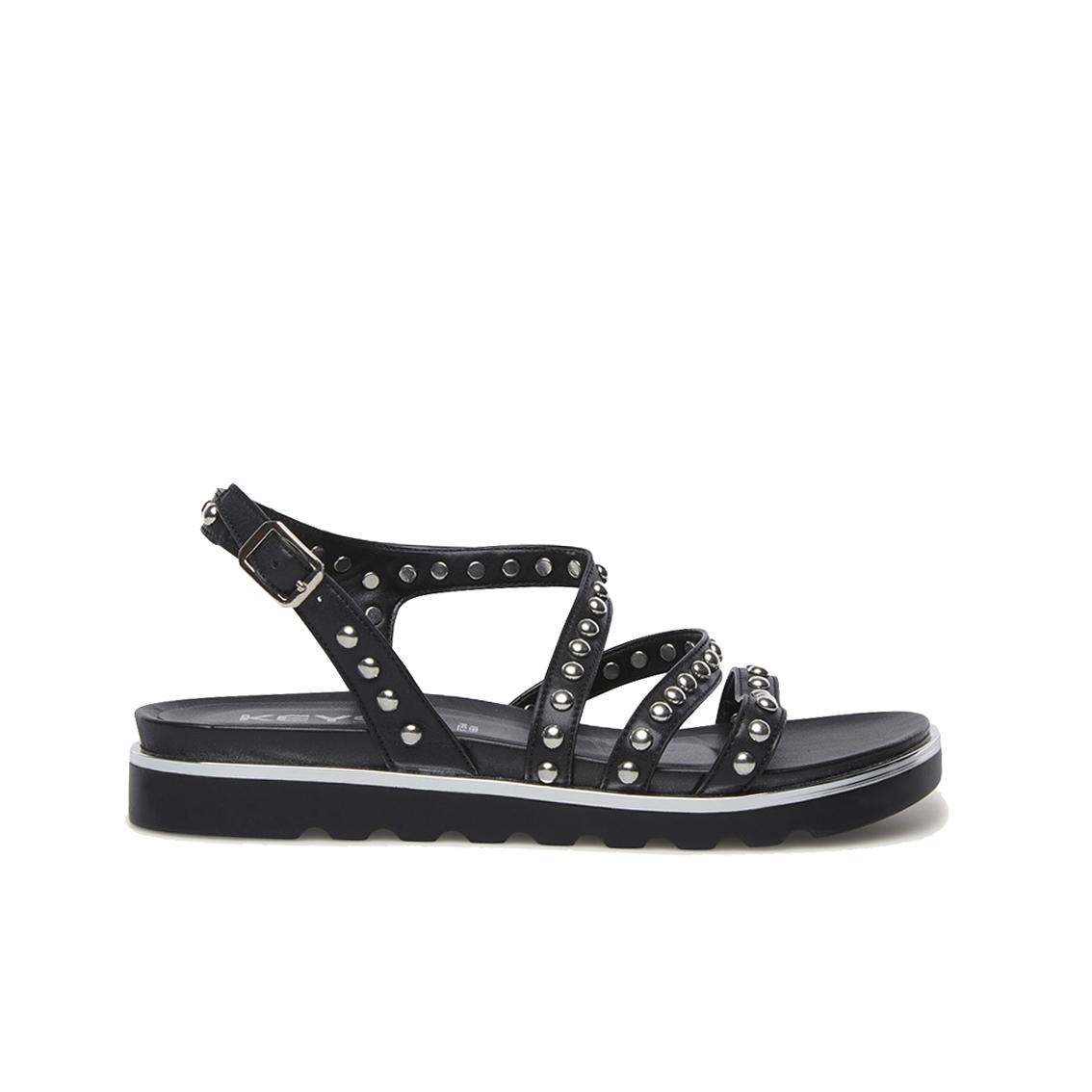 Sandalo nero con borchie Keys