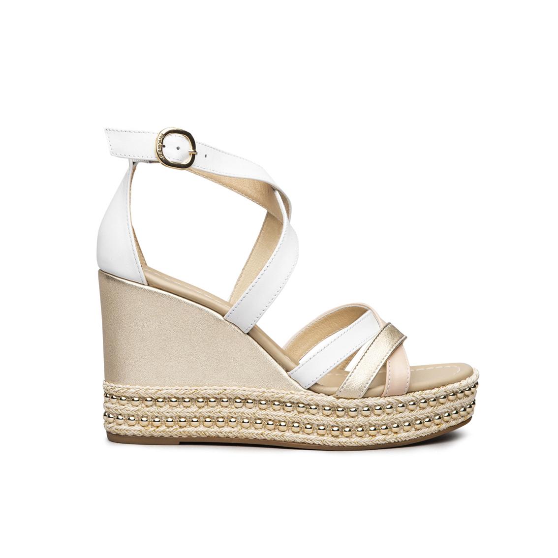 Sandalo bianco con zeppa NeroGiardini