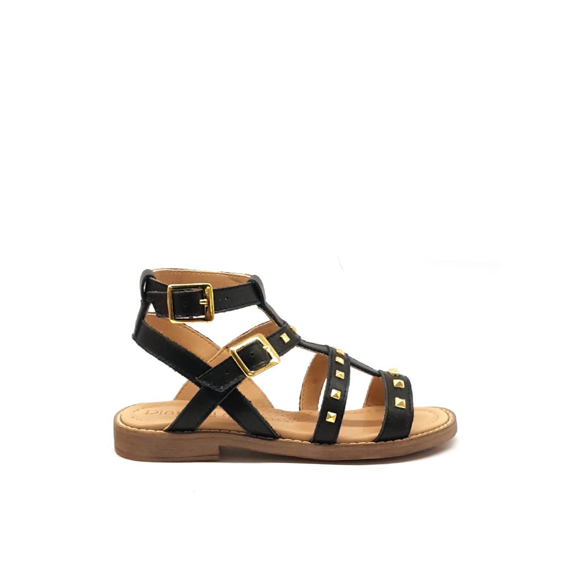 Sandalo nero con borchie Dianetti