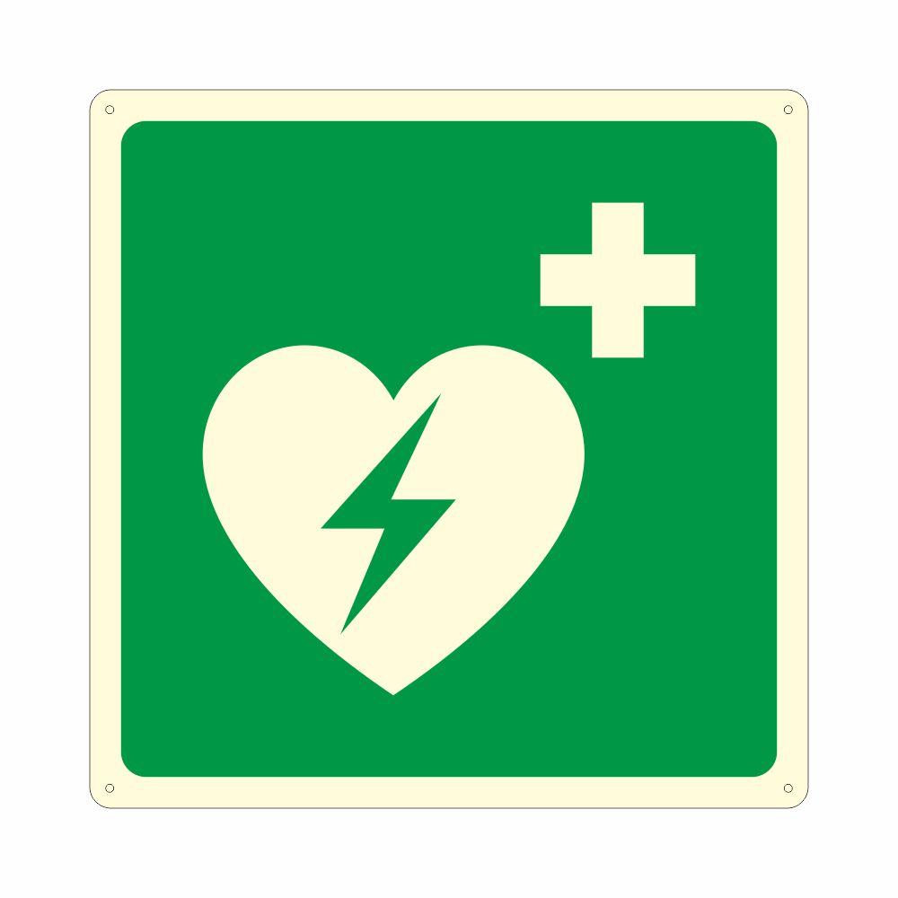 Cartello luminescente con simbolo defibrillatore