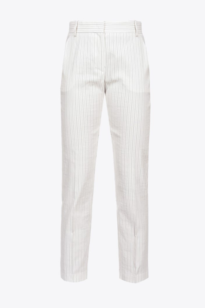 SHOPPING ON LINE PINKO PANTALONI CIGARETTE-FIT GESSATI IN LINO BELLO 102 NEW COLLECTION WOMEN'S SPRING SUMMER 2021