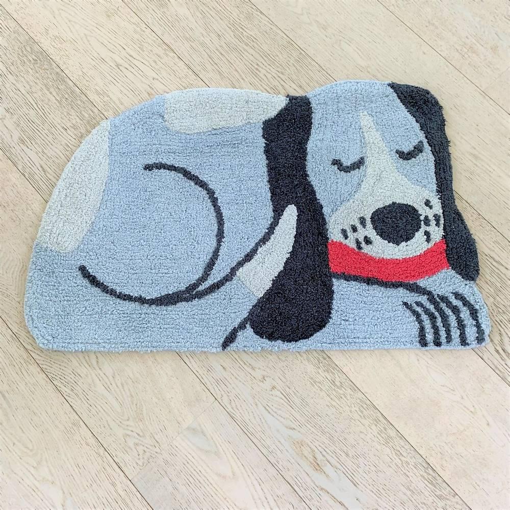 Tappeto sagomato cagnolino grigio