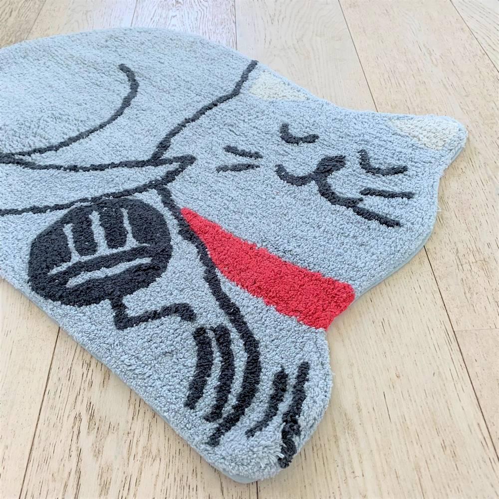 Tappeto sagomato gattino grigio antiscivolo