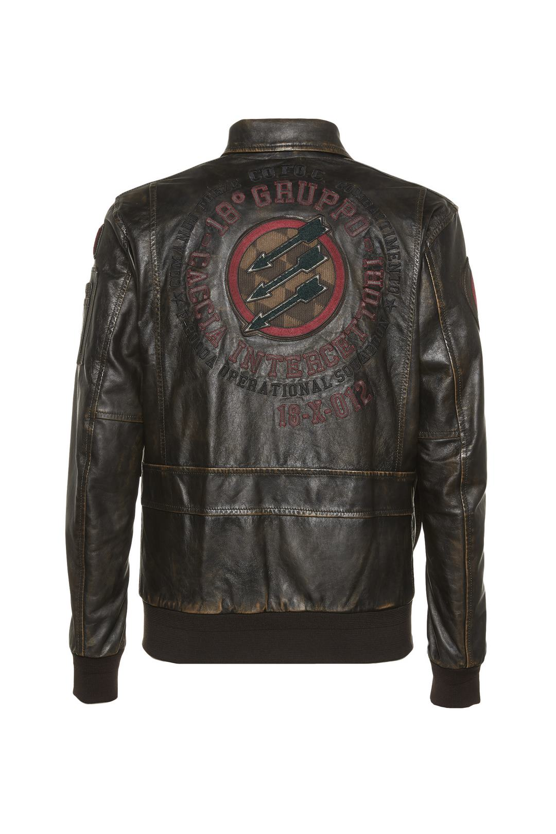 Leather jacket with patches              2
