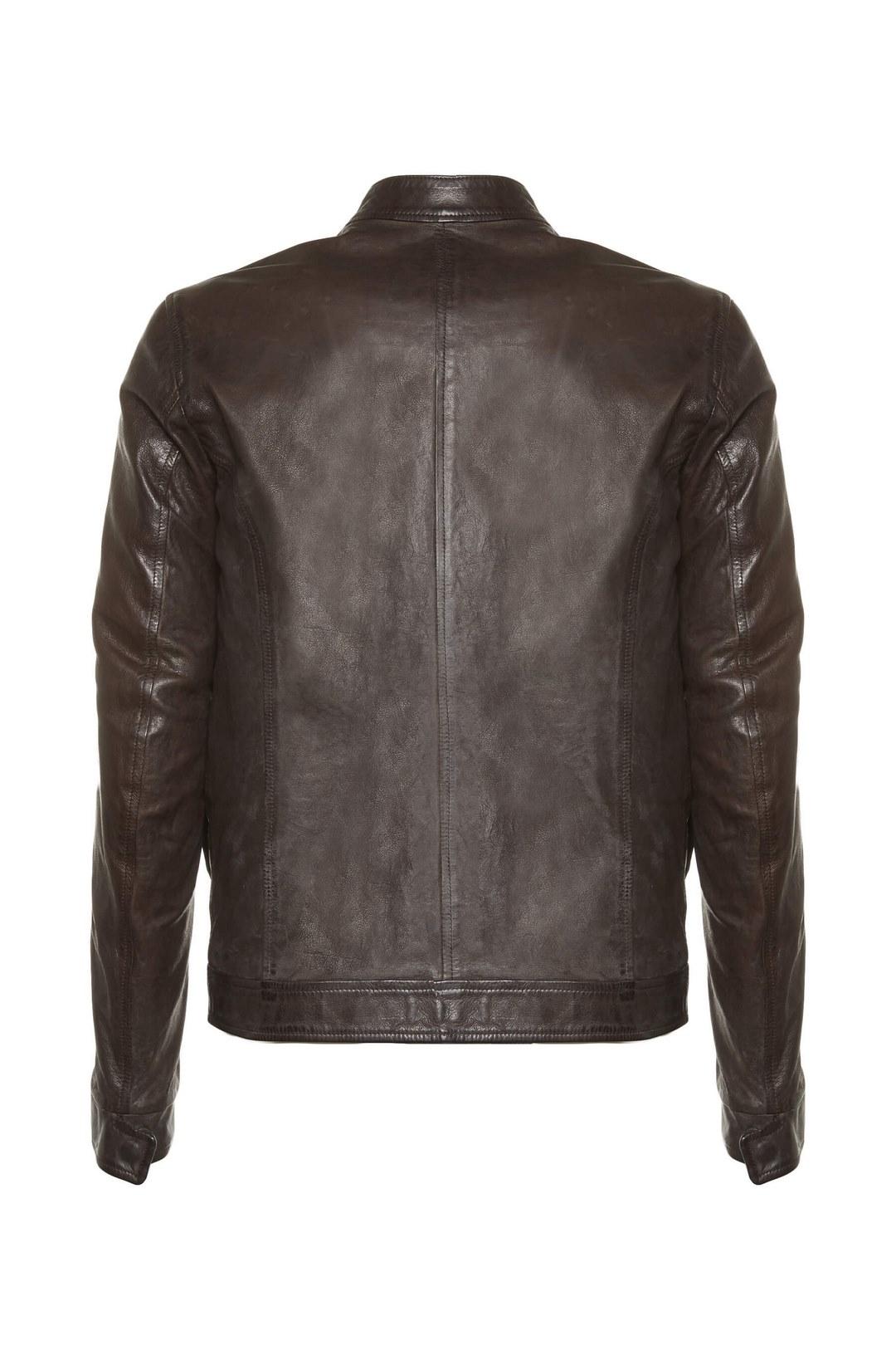 Leather jacket with neck band            2