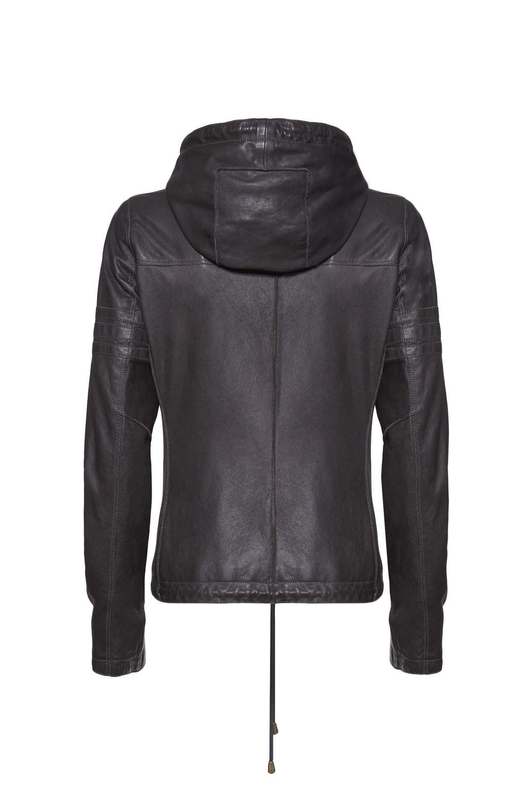 Leather jacket with hood                 2