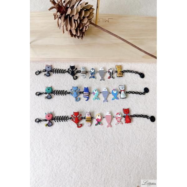 Bracelet chat and petite sardine (21ecn08b)
