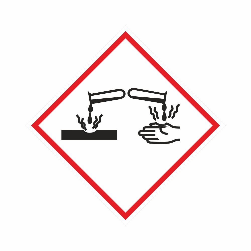 Adesivo etichettatura GHS05 sostanze corrosive