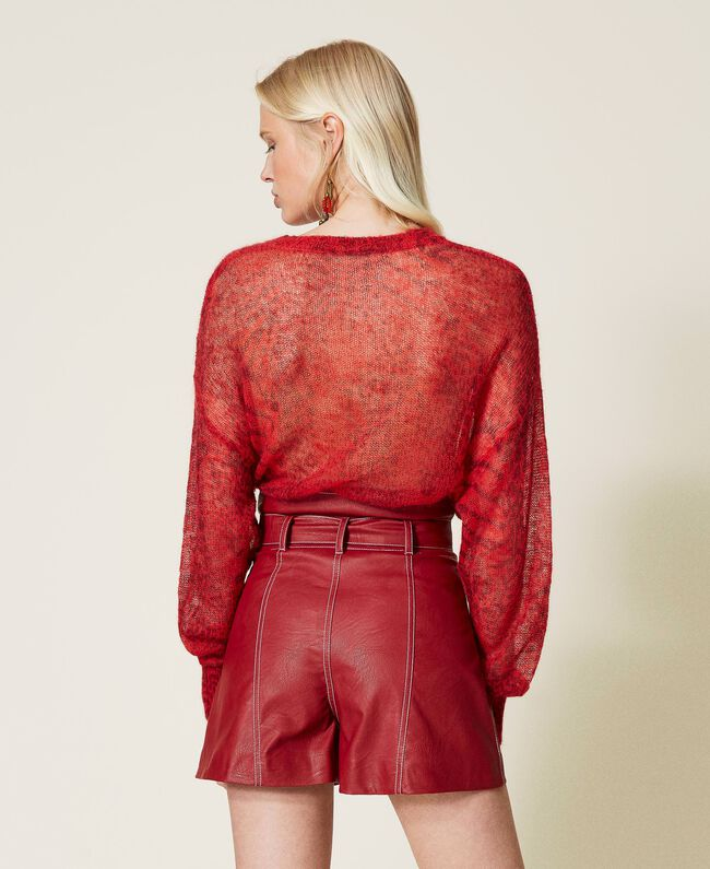 SHOPPING ON LINE  TWINSET MILANO MAGLIA IN MISTO MOHAIR ANIMALIER PREVIEW FALL WINTER 2022