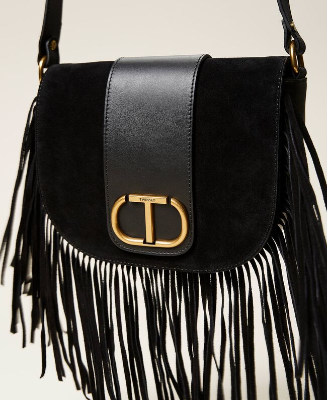 SHOPPING ON LINE TWINSET MILANO BORSA A TRACOLLA IN PELLE CON FRANGE PREVIEW FALL WINTER 2022