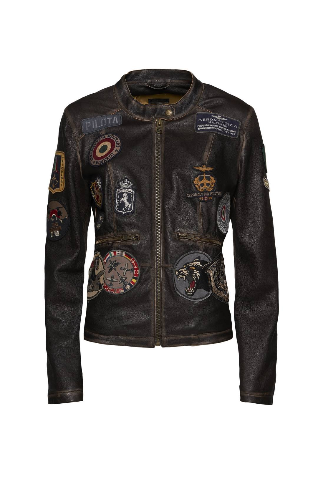 Leather jacket with patches              1