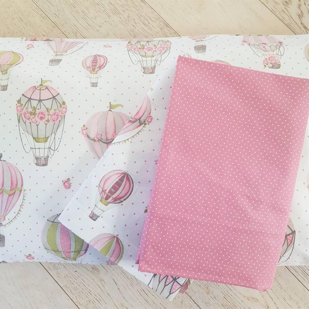 Completo Lenzuola Mongolfiere rosa piazza e mezzo