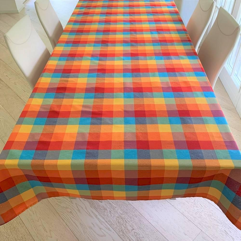 Tovaglia tinto in filo Rustica multicolor 140 x 180