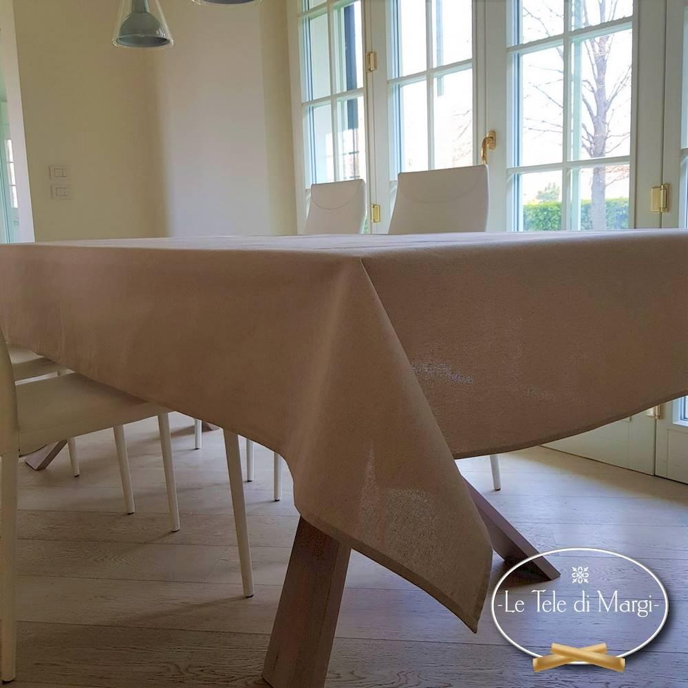 Tovaglia tinta unita beige 140 x 300
