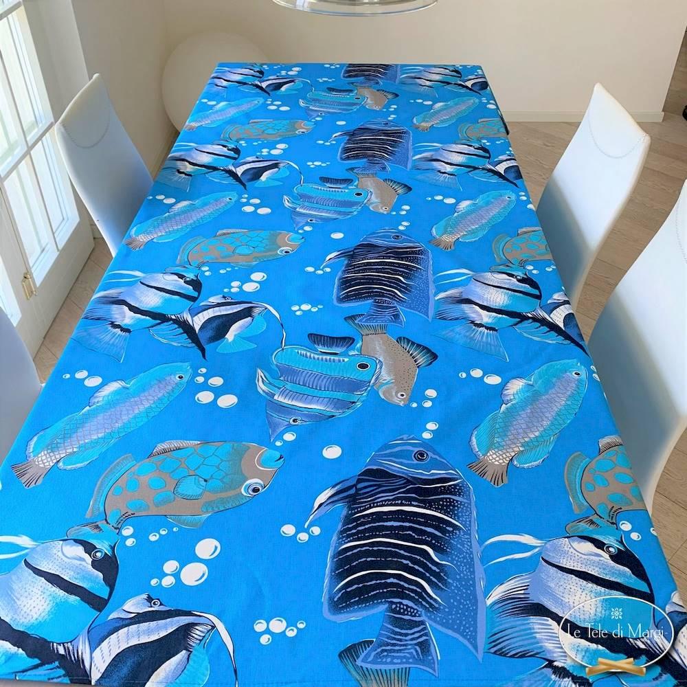 Tovaglia pesci boreali blu 140 x 240
