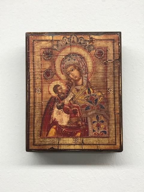 Icona serigrafata invecchiata Madoona con Bimbo cm.12x14,5