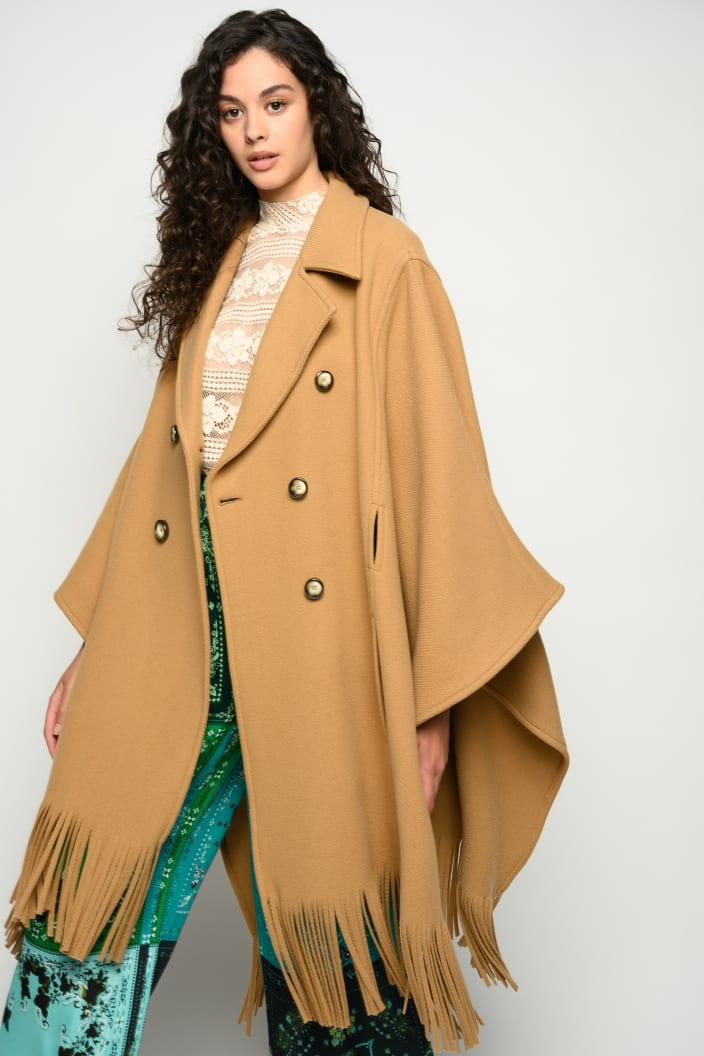 SHOPPING ON LINE PINKO CAPPOTTO A MANTELLA CON FRANGE PUERTA NEW COLLECTION WOMEN'S FALL/WINTER 2022