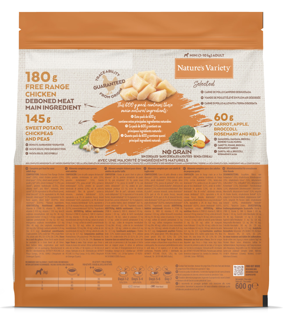 Nature's Variety - Selected Dog - No Grain - Mini - Adult - Pollo - 600 gr