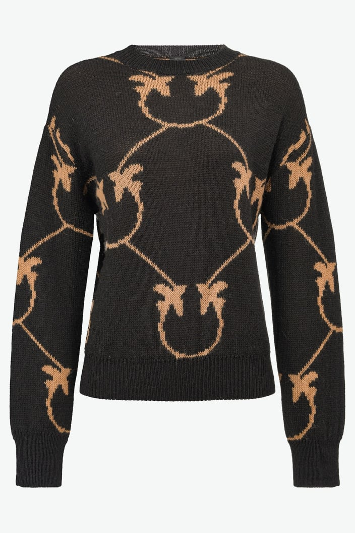 SHOPPING ON LINE PINKO PULLOVER JACQUARD MONOGRAM ABBEY NEW COLLECTION WOMEN'S FALL/WINTER 2022