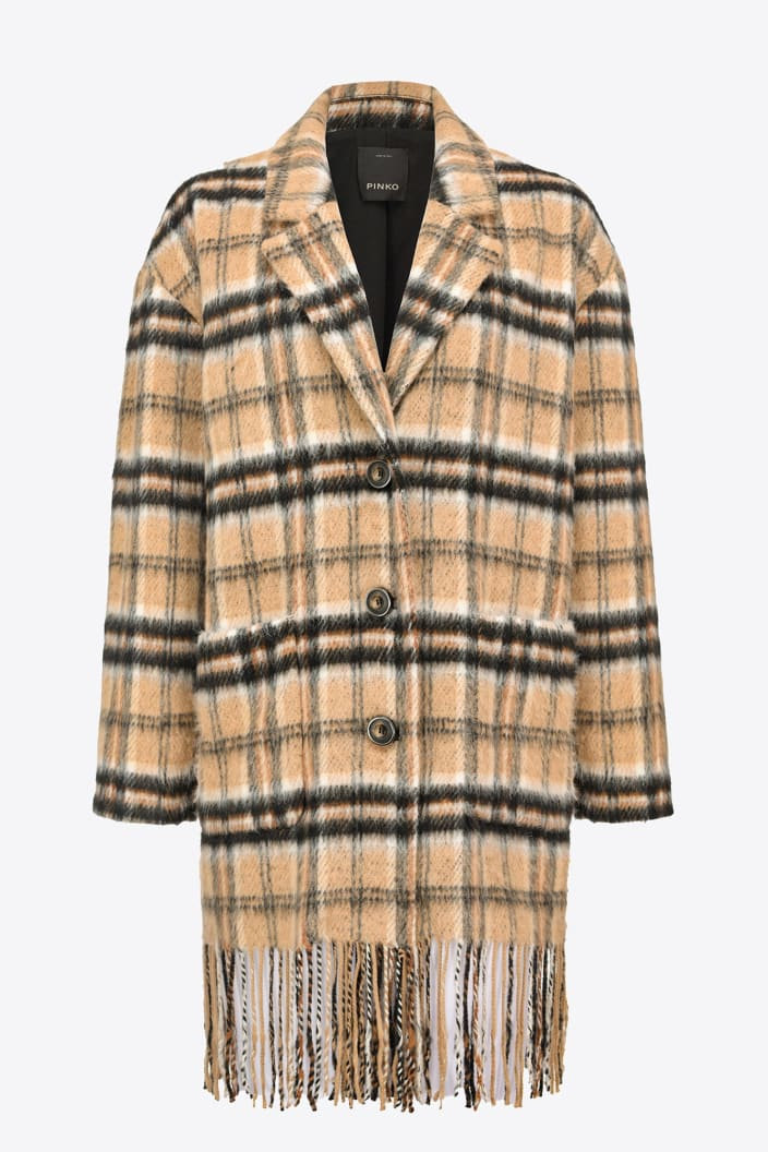 SHOPPING ON LINE PINKO  CABAN CHECK CON FRANGE PARKSIDE NEW COLLECTION WOMEN'S FALL/WINTER 2022