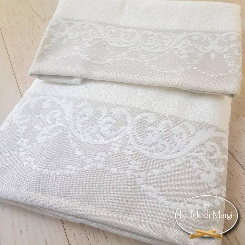 Coppia asciugamani Jacquard Bianco