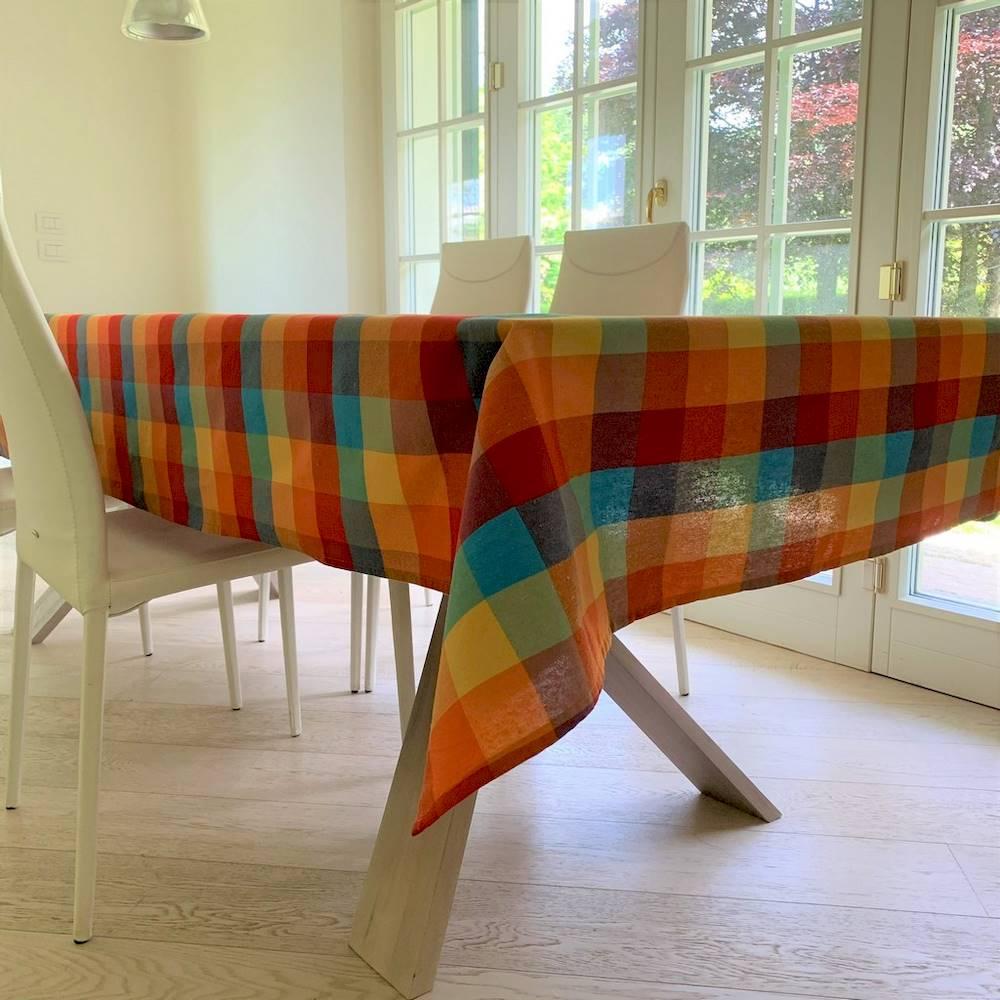 Tovaglia tinto in filo Rustica multicolor 140 x 140