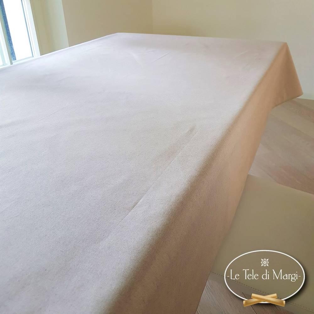 Tovaglia tinta unita beige resinata 140 x 180