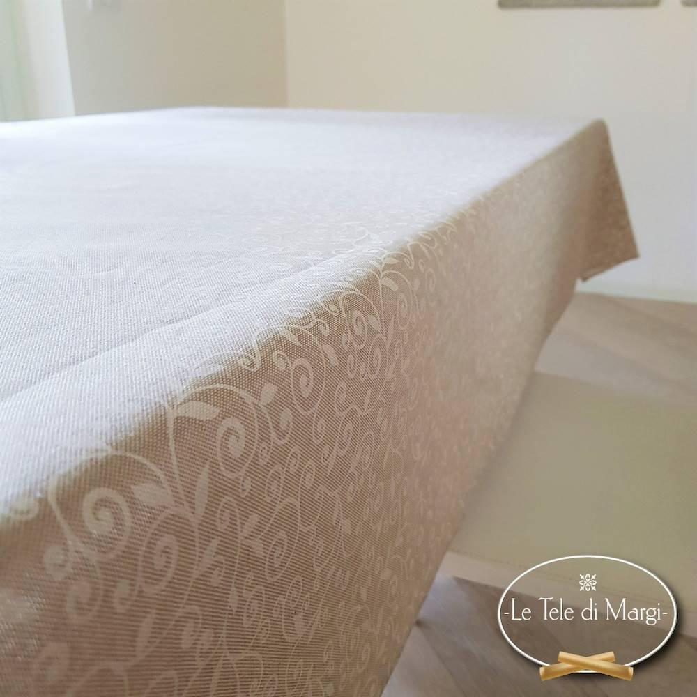 Tovaglia Ricamo bianco resinata 140 x 140