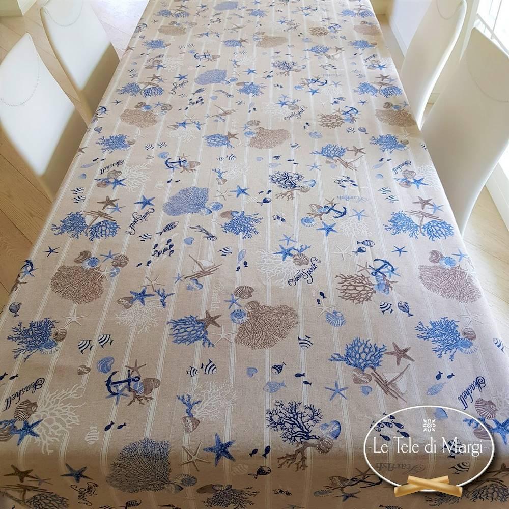 Tovaglia Oceania azzurra resinata 140 x 180
