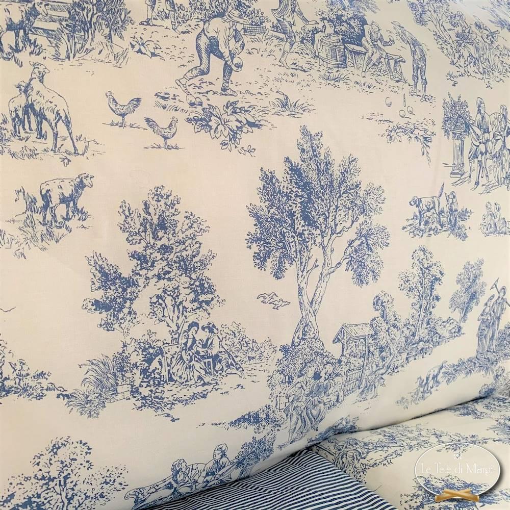 Completo Lenzuola Toile de jouy blu singolo