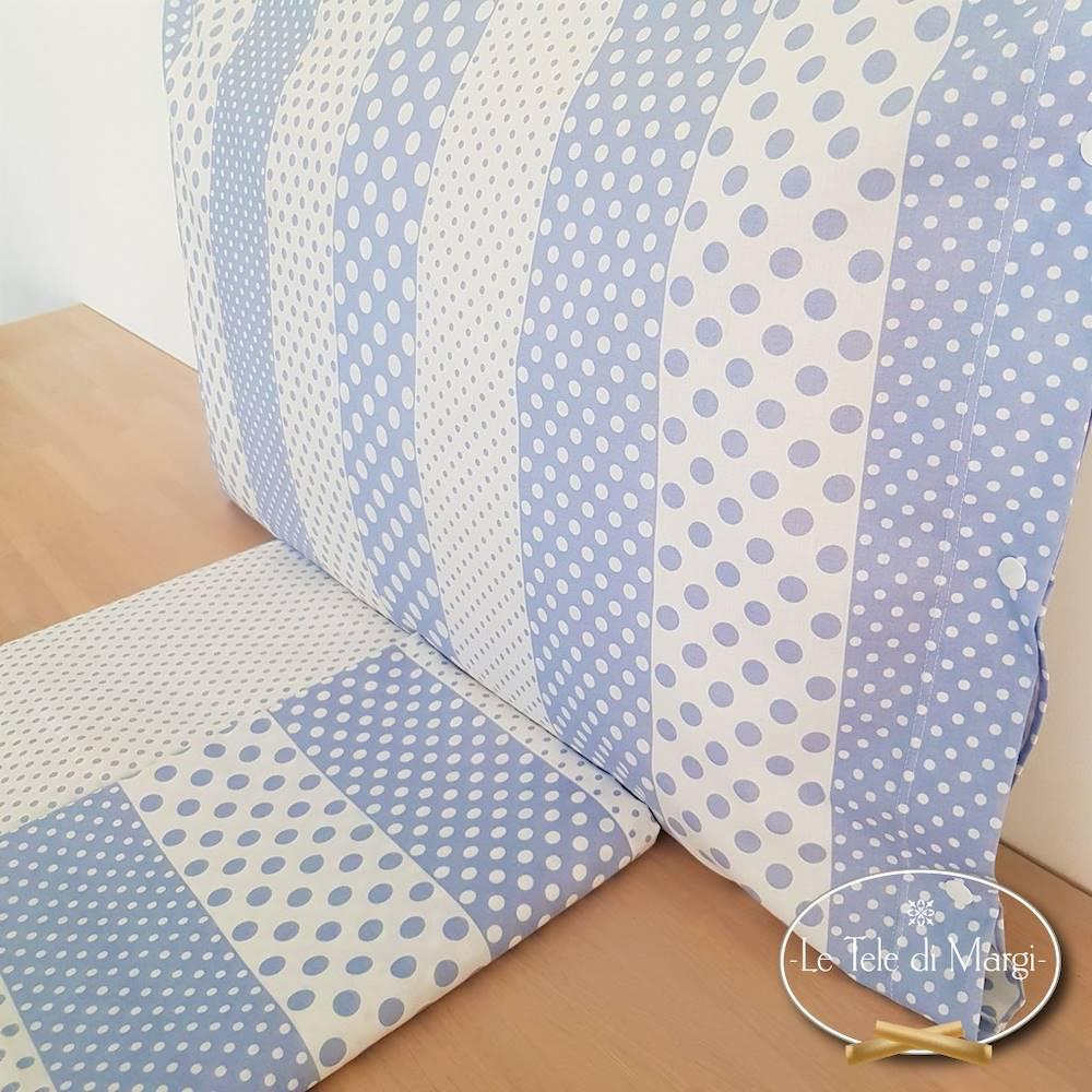 Completo Lenzuola Pois e rigoni azzurro singolo
