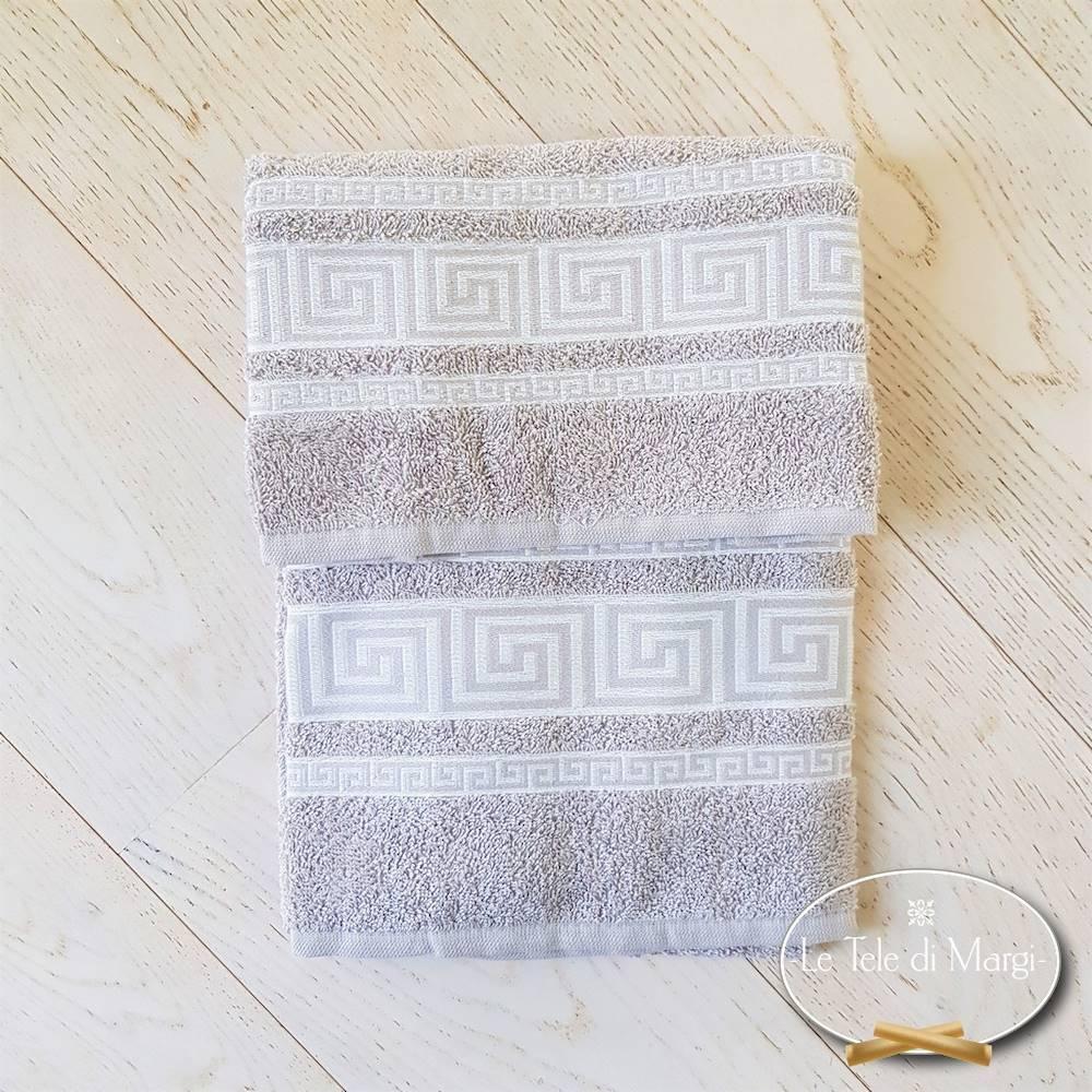Asciugamani Greca tortora
