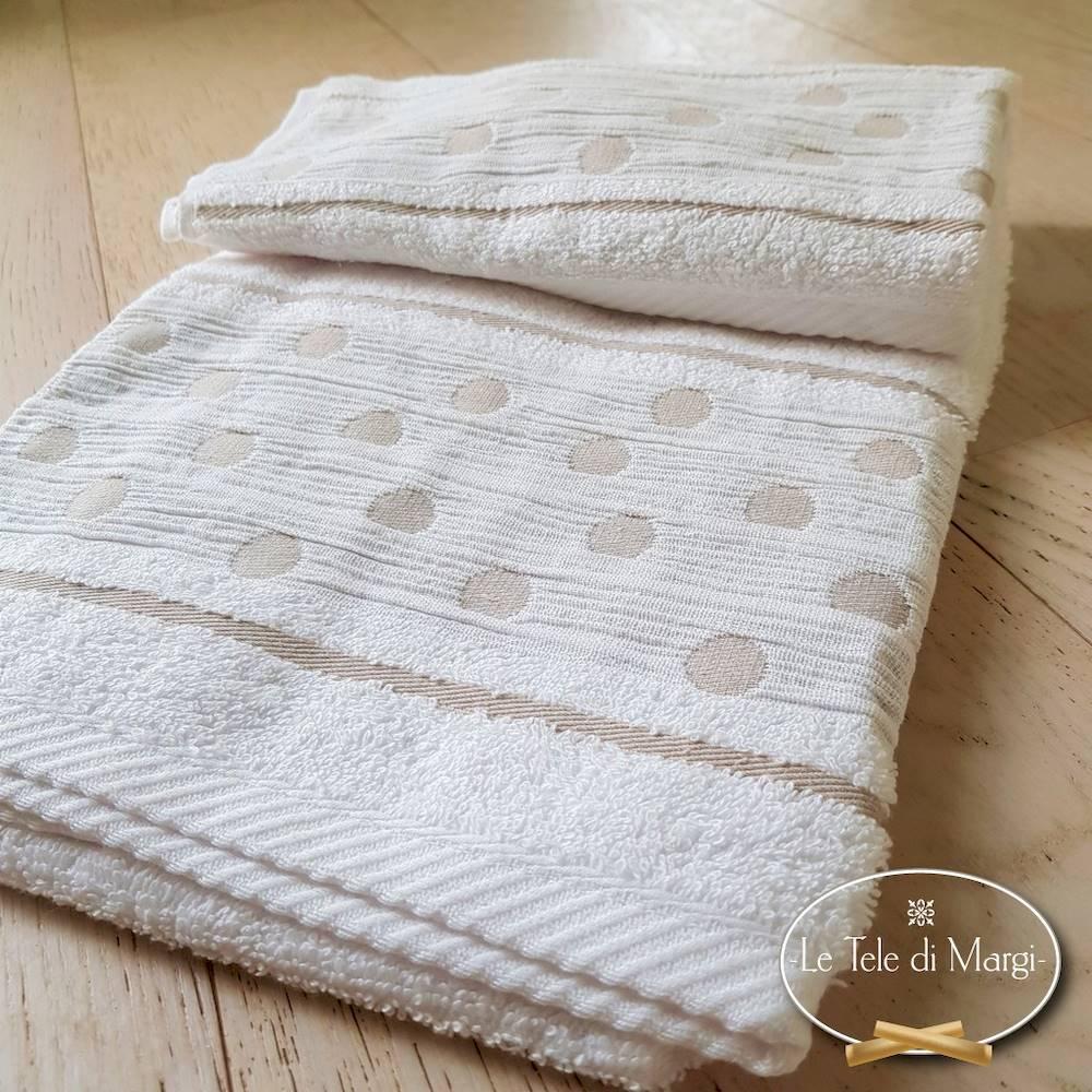 Coppia asciugamani Pois Bianco