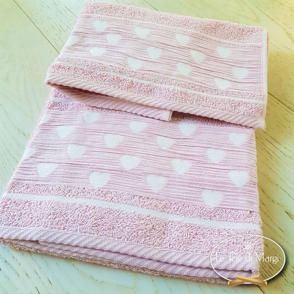 Coppia asciugamani Cuoricini rosa