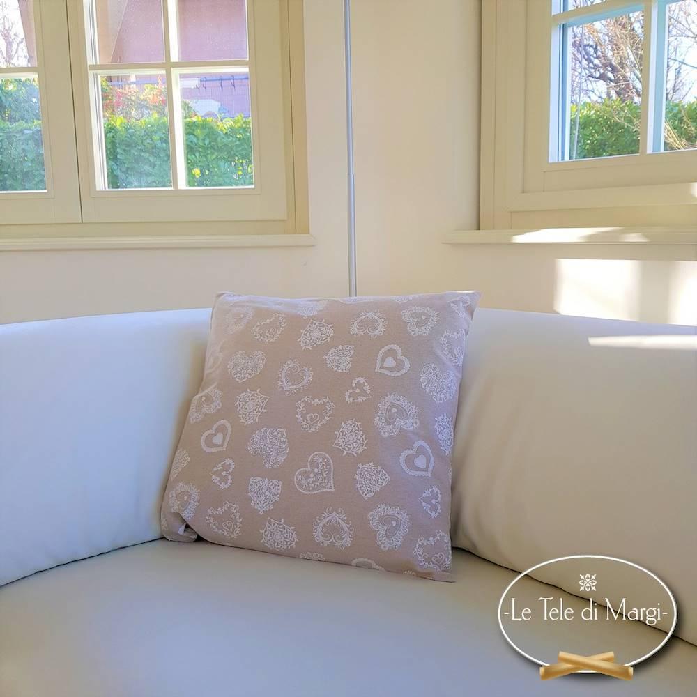 Fodera cuscino 50 x 50 cuoricini bianchi