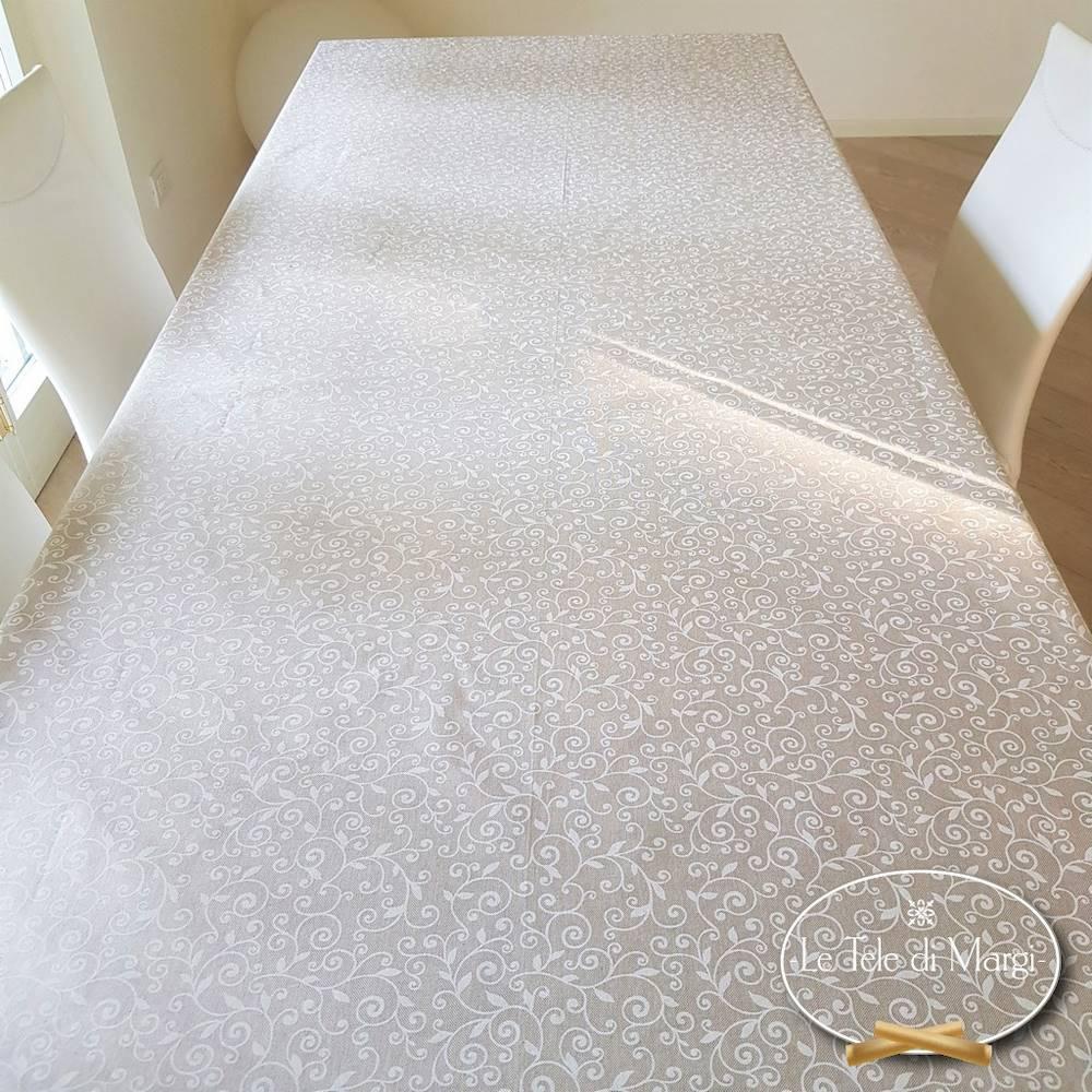 Tovaglia Ricamo bianco resinata 140 x 240