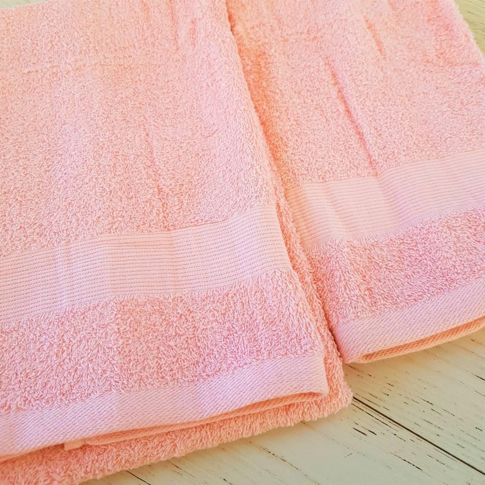Coppia asciugamani salmone balza rigata