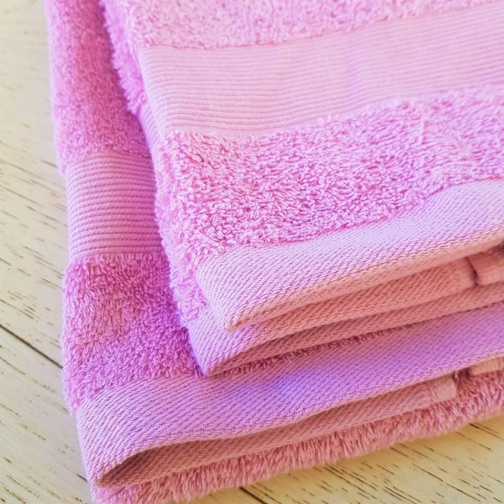 Coppia asciugamani lilla balza rigata