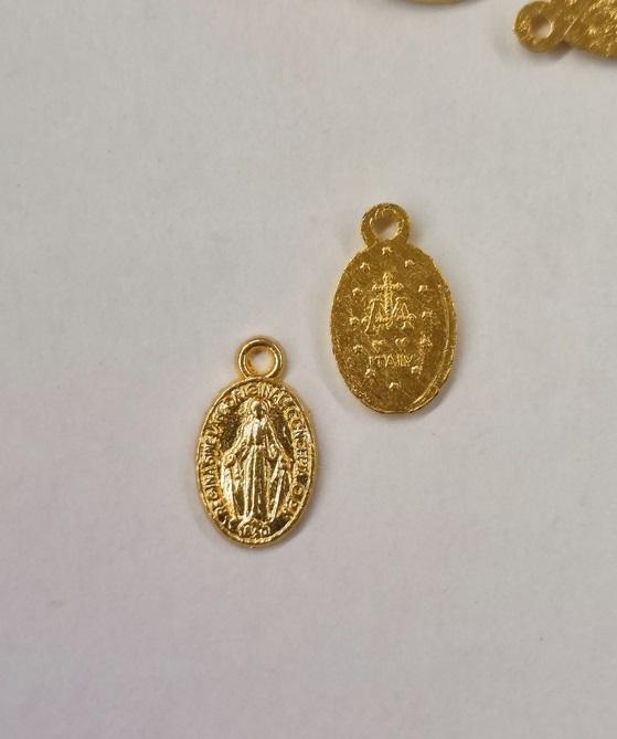 Medaglia Madonna Miracolosa metallo dorato piccola senza anellino (conf. 200 pz)