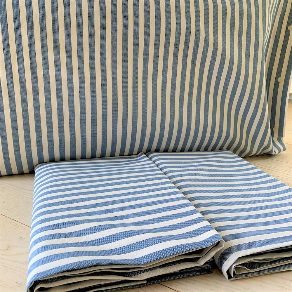 Completo Lenzuola Riga bastoncino blu matrimoniale