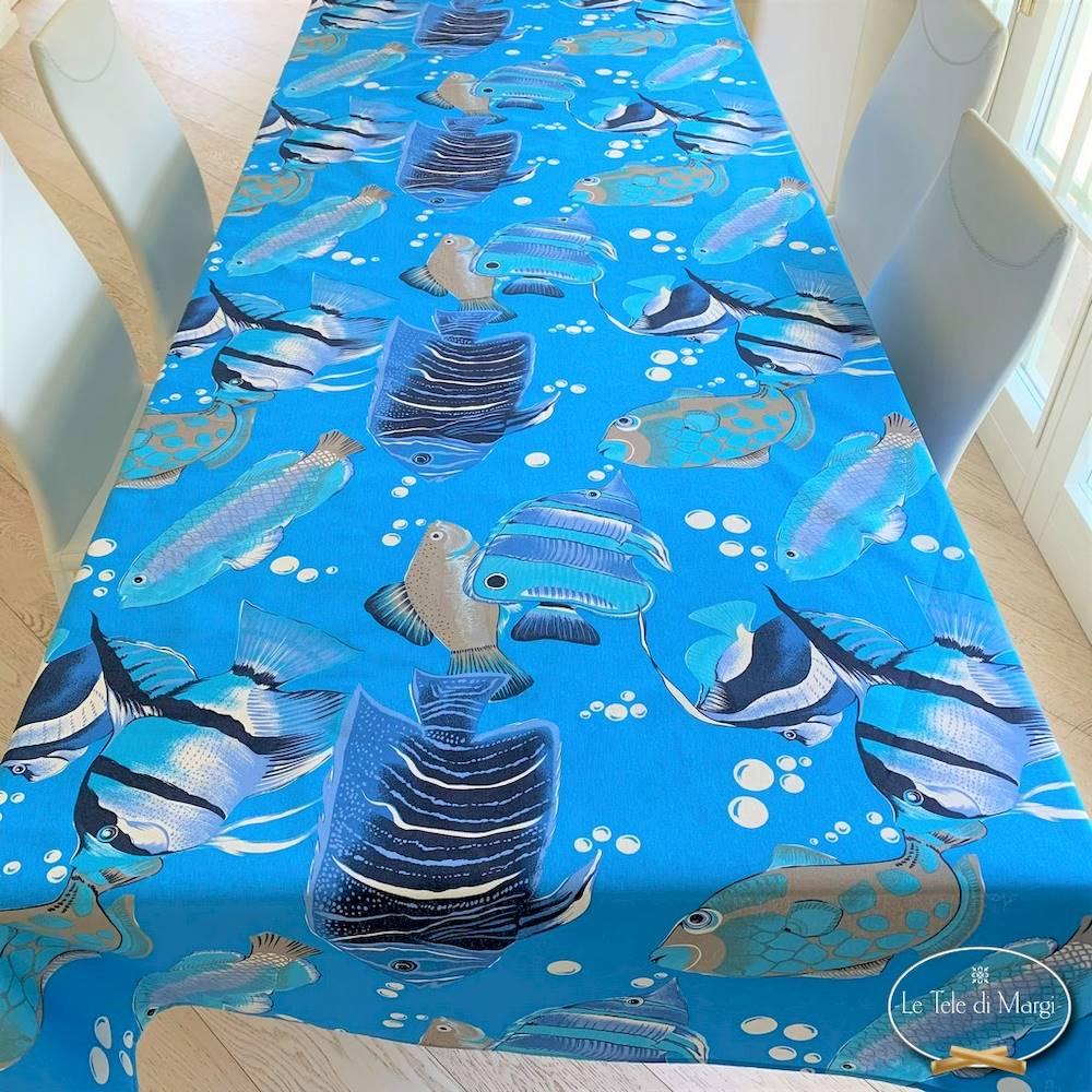 Tovaglia pesci boreali blu 140 x 300