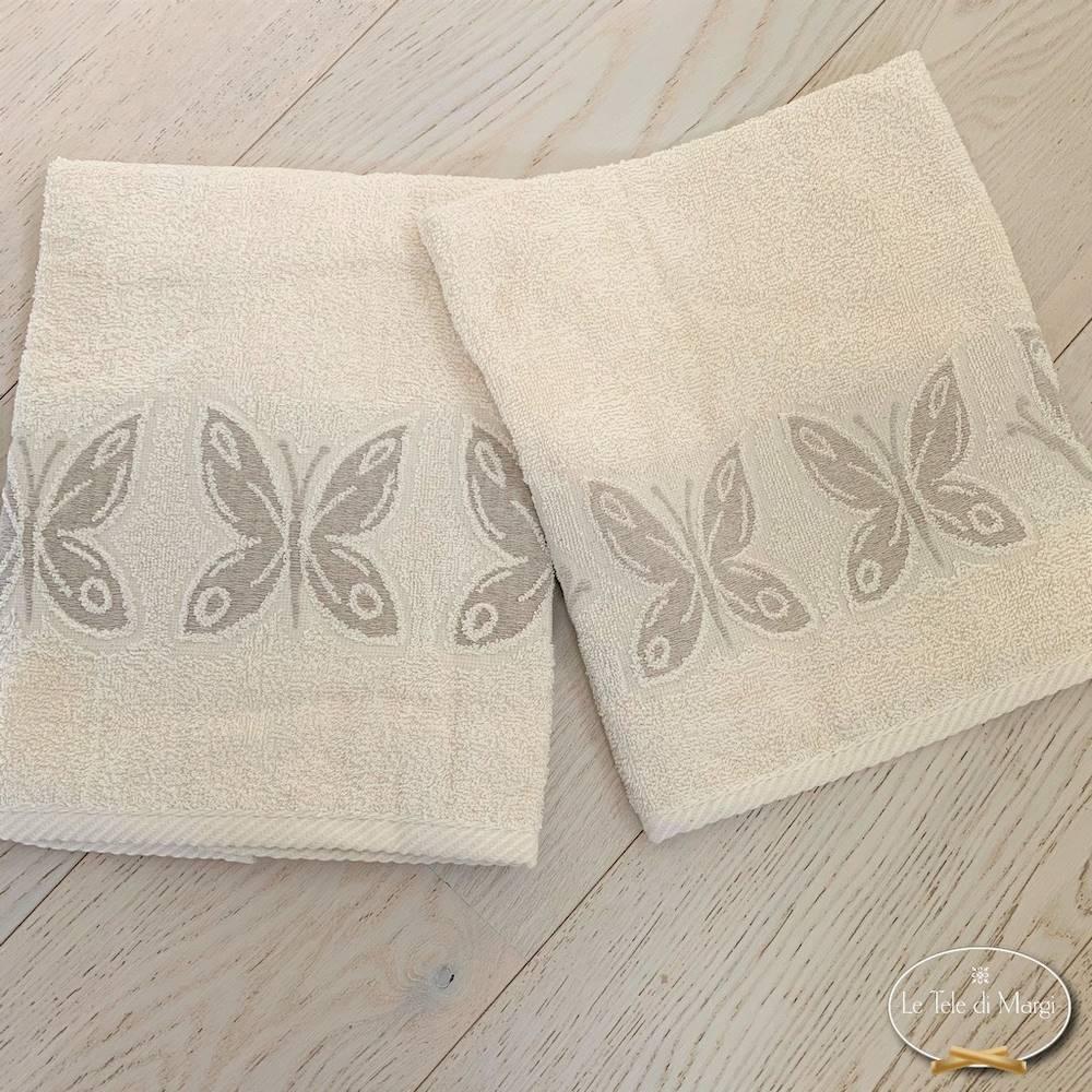 Asciugamani farfalle lino