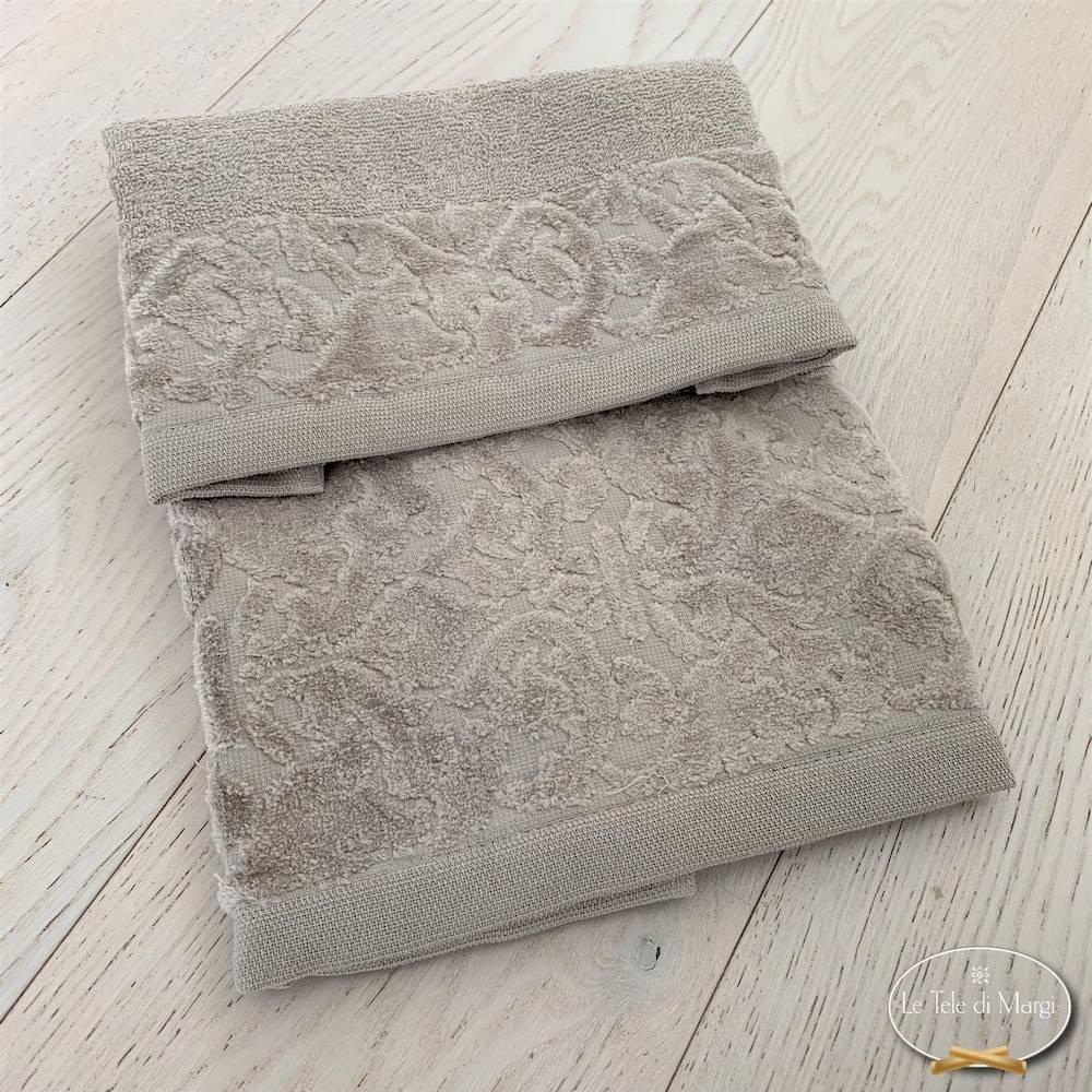 Asciugamani balza in ciniglia tortora