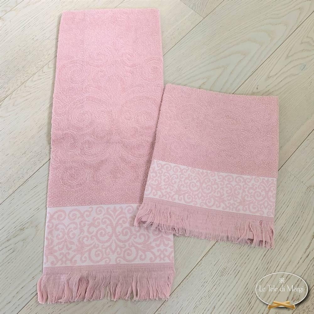 Asciugamani arabesco sfrangiato rosa