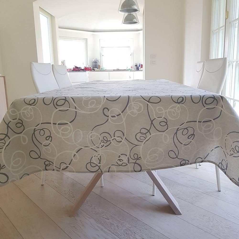 Tovaglia Volant grigi resinata 140 x 240