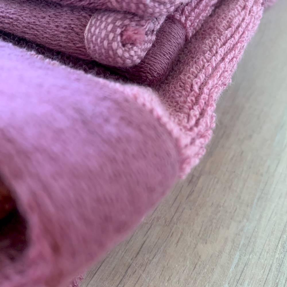 Coppia asciugamani pois bicolor fuxia
