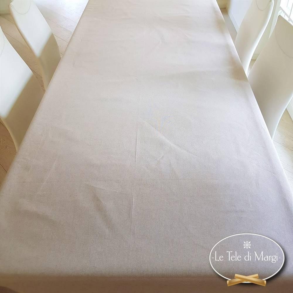 Tovaglia tinta unita beige resinata 140 x 140